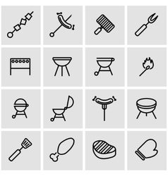line barbecue icon set vector image