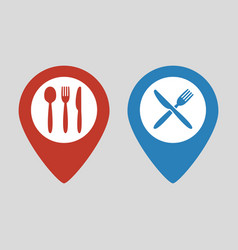 map marker location with fork spoon and knife vector image
