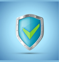 metal shield icon with green check mark vector image