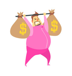 Millionaire rich man in pink training suit lifting vector