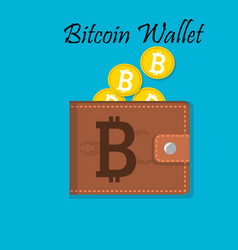 mobile wallet with bitcoin cryptocurrency vector image