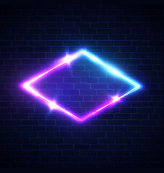 Night club neon light rhombus frame on brick wall vector