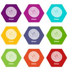 Onion icons set 9 vector