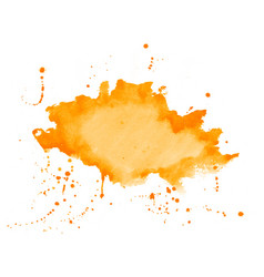 orange watercolor splatter stain texture vector image