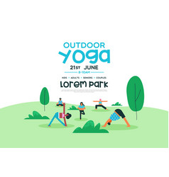 outdoor yoga event poster template vector image