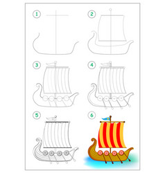 Page shows how to draw step step toy viking vector
