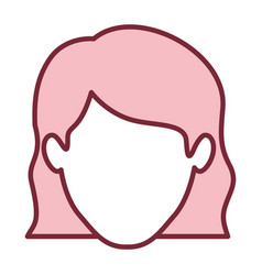 Pink silhouette of faceless woman with wavy short vector