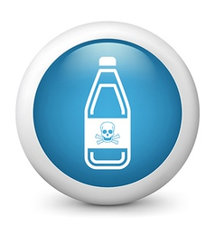 Poison warning glossy icon vector