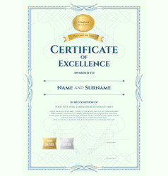 portrait certificate of excellence template with vector image