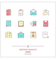 Printing Products Line Icons Set vector image