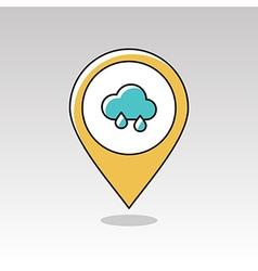 Rain Cloud pin map icon Meteorology Weather vector image