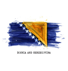 Realistic watercolor painting flag bosnia and vector