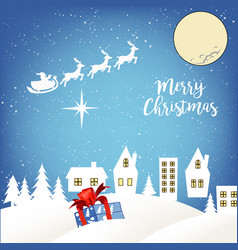 santa claus team of young deer in the night sky vector image
