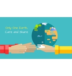 Saving Planet Earth Concept in Flat Design vector image