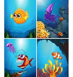 Sea animals swimming in the ocean vector