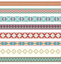 seamless pattern borders tribal set vector image
