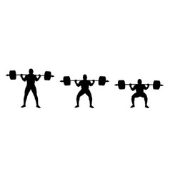 Set athlete powerlifter vector