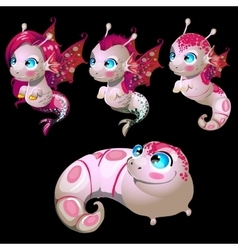 Set four aliens male and female fish vector
