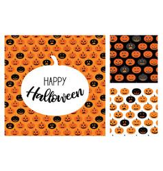 set halloween scary pumpkins pattern vector image