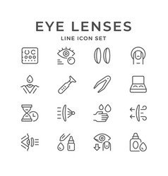 Set line icons of contact lenses vector
