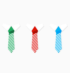 set of colored necktie green blue and red vector image