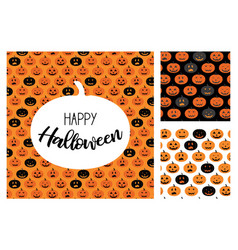 set of halloween scary pumpkins pattern set for vector image