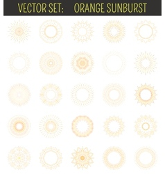 Set of orange sunburst Geometric shapes and light vector image