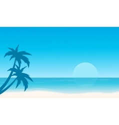 Silhouette of beach flat landscape vector