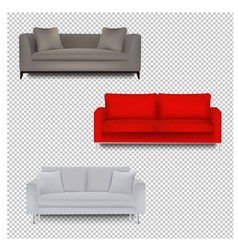 three sofa bed with isolated transparent vector image