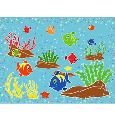 Underwater marine life vector