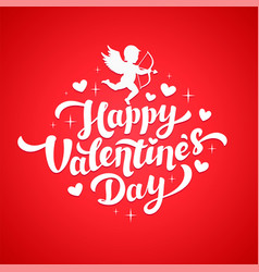 valentines day card with cupid silhouette and vector image vector image