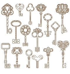 Vintage Keys Line Works Set vector image