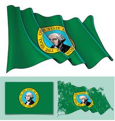 waving flag of washington state vector image