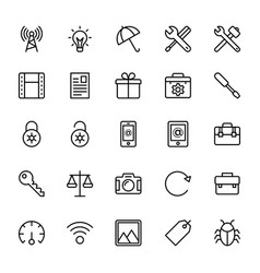 Web and mobile ui line icons 20 vector