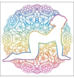 Women silhouette Cow yoga pose Bitilasana vector
