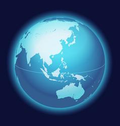 World globe mapeastern asia australia centered vector