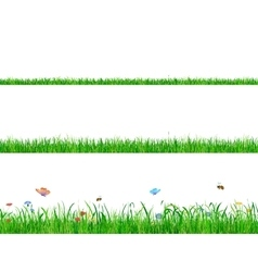 Green grass banner collections with flowers vector image vector image