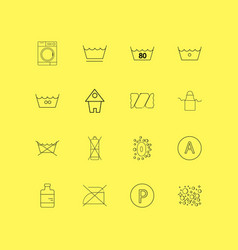 Laundry linear icon set simple outline icons vector