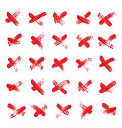 x - cross red handwritten symbol or letter vector image