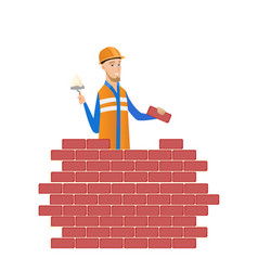 young bricklayer working with spatula and brick vector image