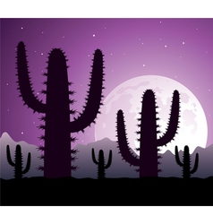 Cactus in desert at night vector