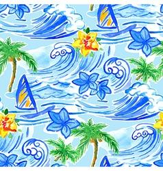 Hawaiian waves seamless pattern vector image vector image