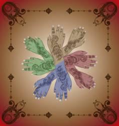 Henna hands vector image vector image