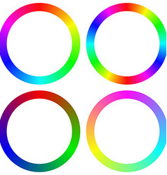 Isolated gradient rainbow circle color palette set vector image