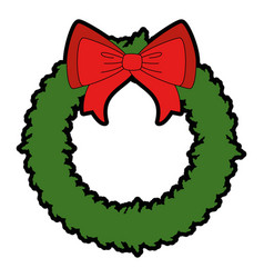 merry christmas wreath crown with bow vector image
