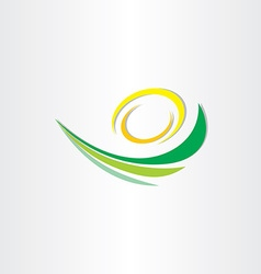 spring green wave with sun stylized icon vector image vector image