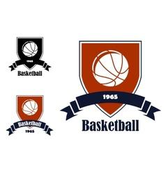 Basketball sports emblems and symbols vector image