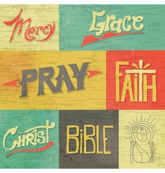 Vintage Hand Drawn Words and Images of Faith vector image