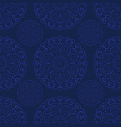 blue seamless doodle pattern ethnic ornament hand vector image vector image