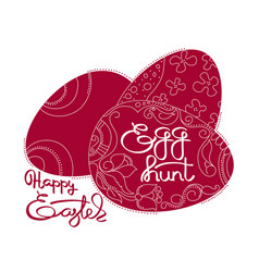 dark red eggs and handwritten word happy easter vector image vector image